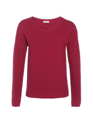 Pull maille ottomane boutons epaules rouge clair femme