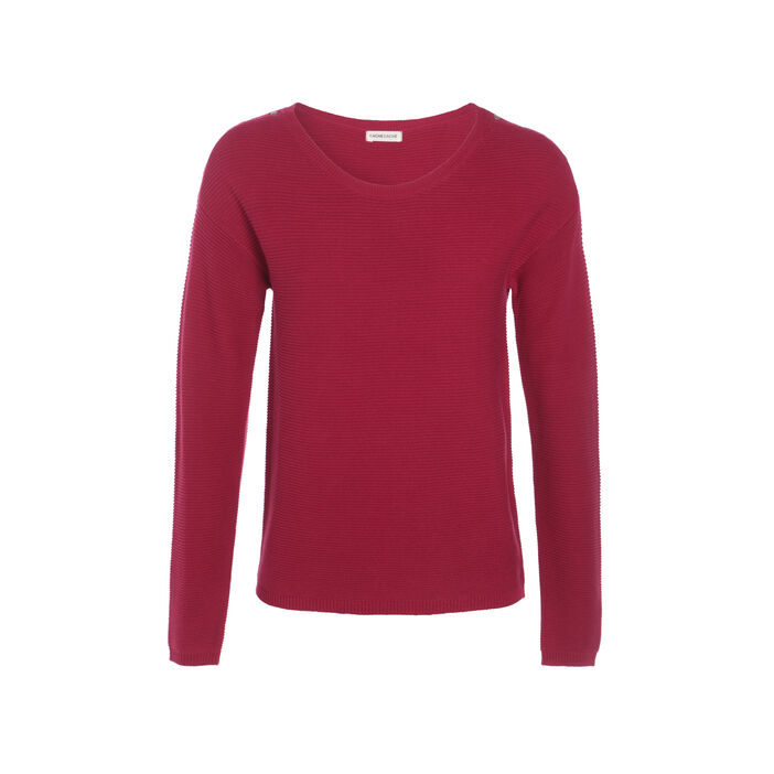 Pull maille ottomane boutons épaules rouge clair femme