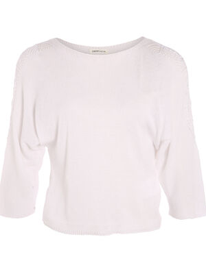 Pull manches 34 col rond blanc femme