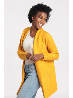 Gilet manches longues a poches jaune moutarde femme