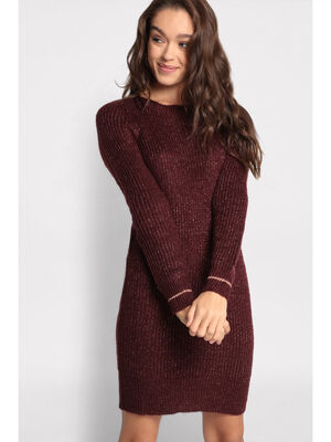 Robe pull manches longues violet fonce femme