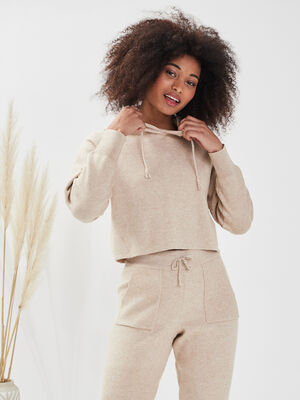 Pull a capuche sable femme