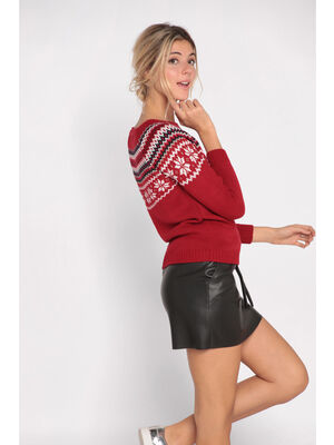 Pull manches longues col rond rouge fonce femme