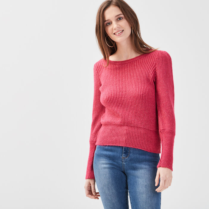 Pull manches bishop rose fushia femme