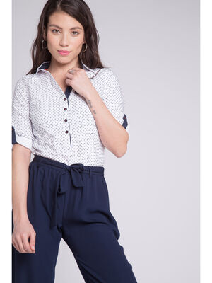Chemise a pois manches 34 blanc femme