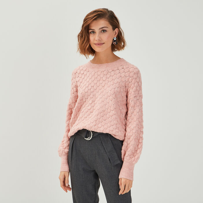 Pull manches longues ballons rose pastel femme