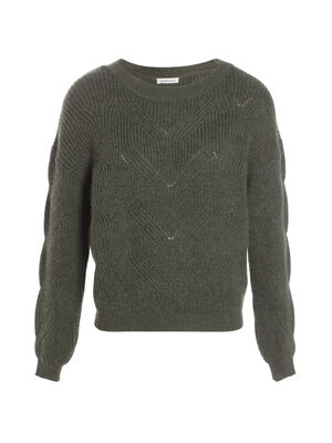 Pull manches longues vert fonce femme