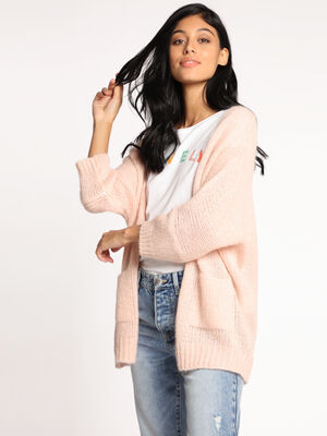 Gilet manches 34 a coupe loose rose clair femme