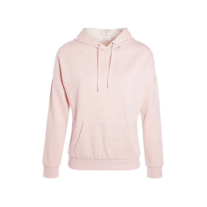 Sweat basic capuche rose clair femme