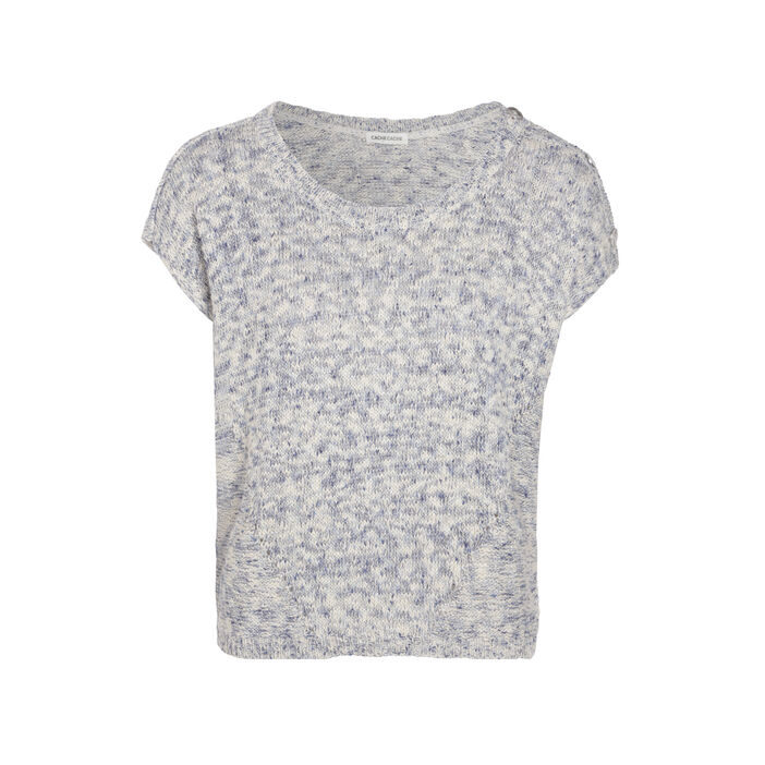 Pull manches courtes col rond bleu marine femme