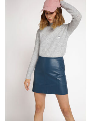 Pull manches longues maille a cotes gris clair femme
