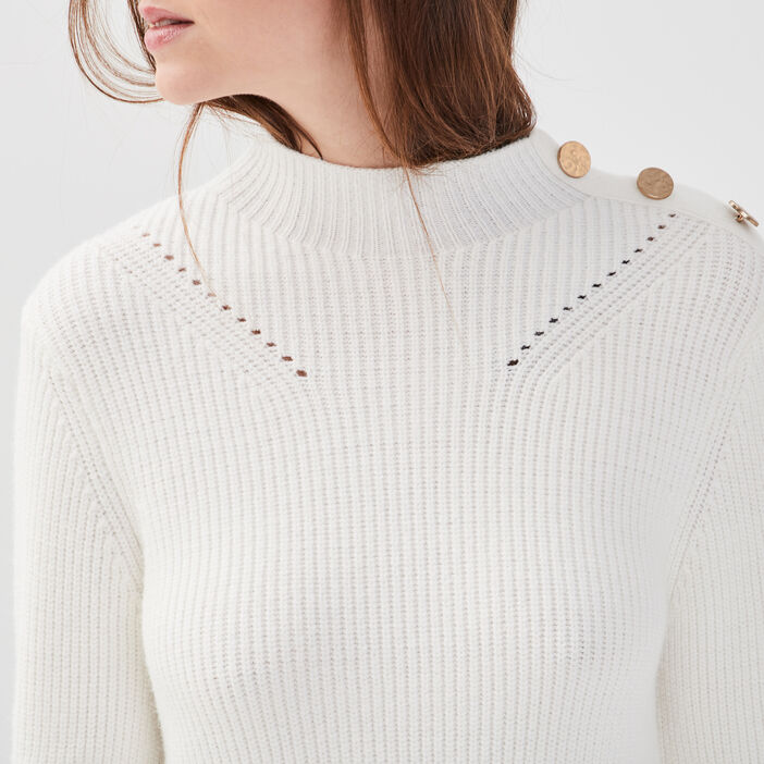 Pull col montant boutons ecru femme