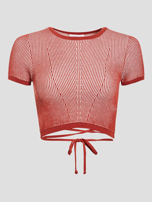 Pull crop top rouge fonce femme