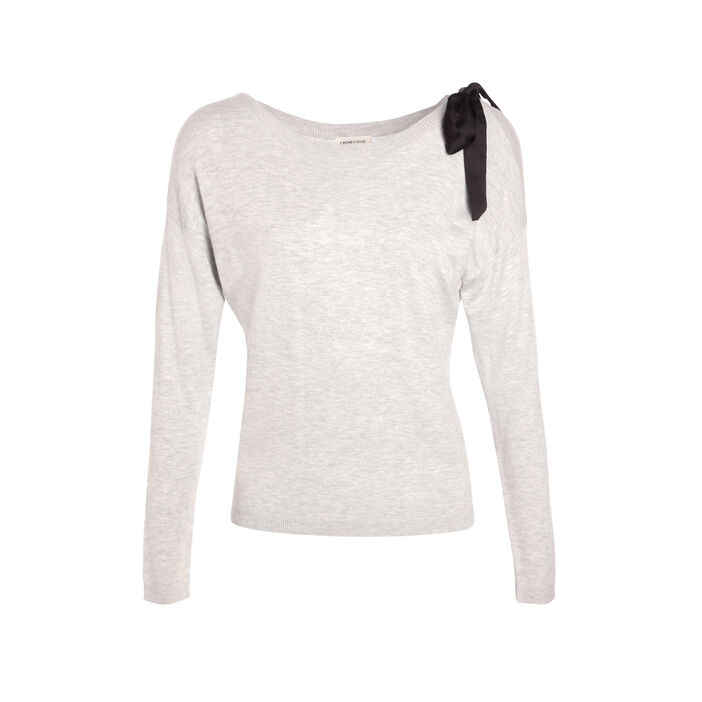 Pull manches longues noeud gris clair femme