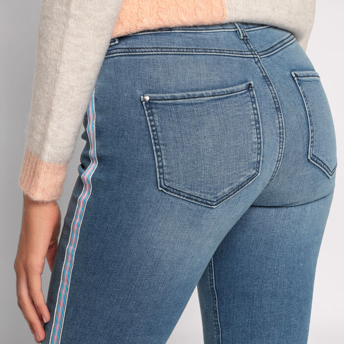 Jeans skinny bandes sporty denim double stone femme