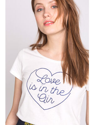T shirt message love ecru femme