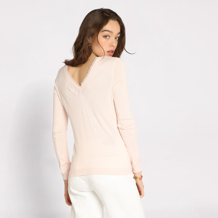 Pull manches longues dentelle rose clair femme