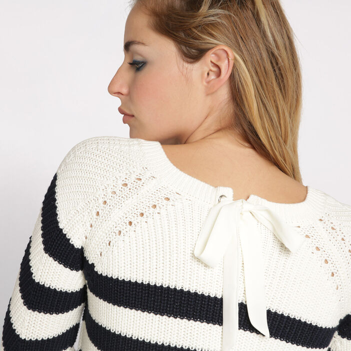 Pull maille fantaisie col rond blanc femme