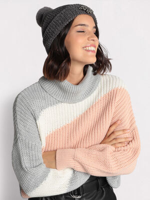Pull col roule gris femme