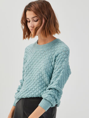 Pull manches longues ballons vert clair femme