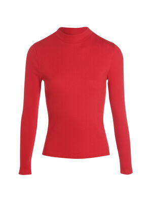 T shirt maille cotelee rouge femme