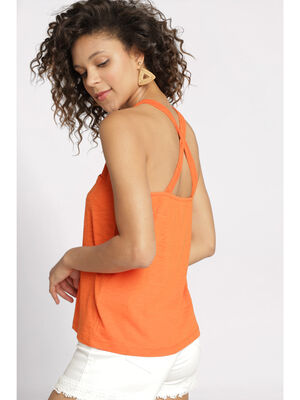 Debardeur bretelles multiples orange femme