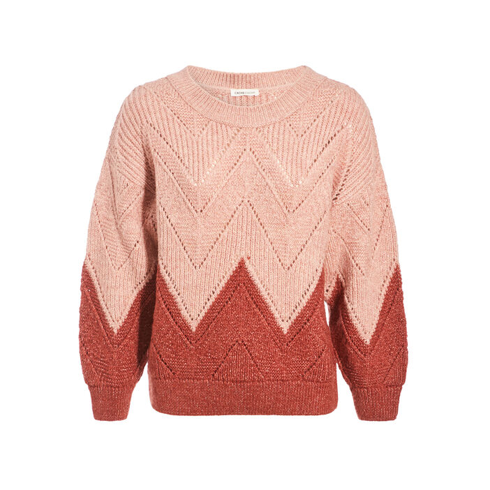 Pull col rond rose pastel femme