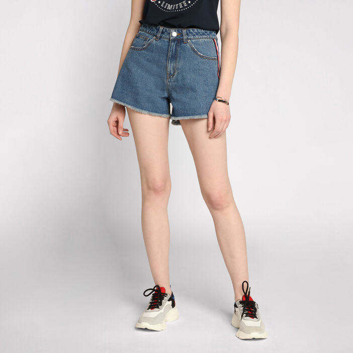 Mini short en jean à franges denim stone femme