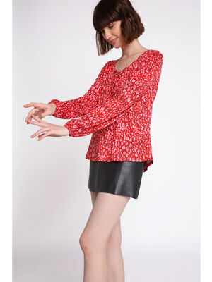 Blouse manches longues lacee rouge femme