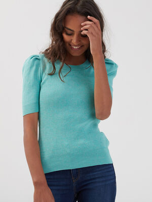 Pull manches courtes vert femme