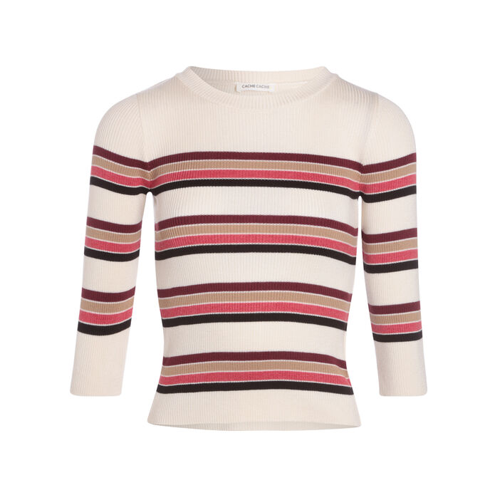Pull manches courtes terracotta femme
