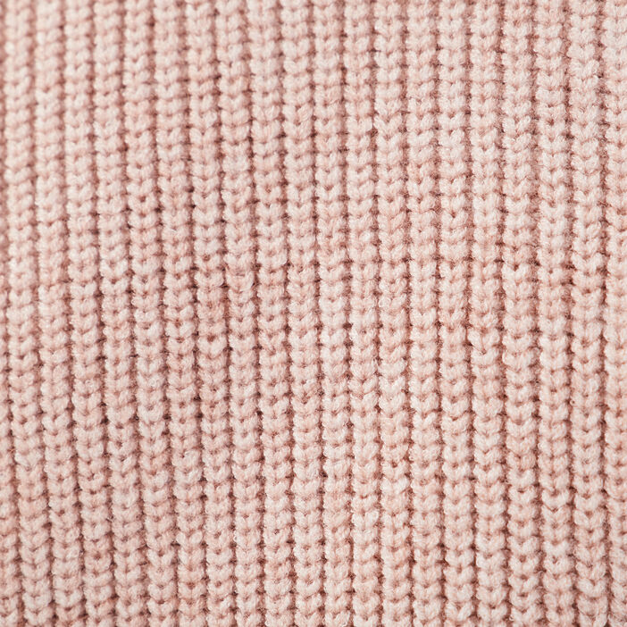 Pull col rond rose clair femme
