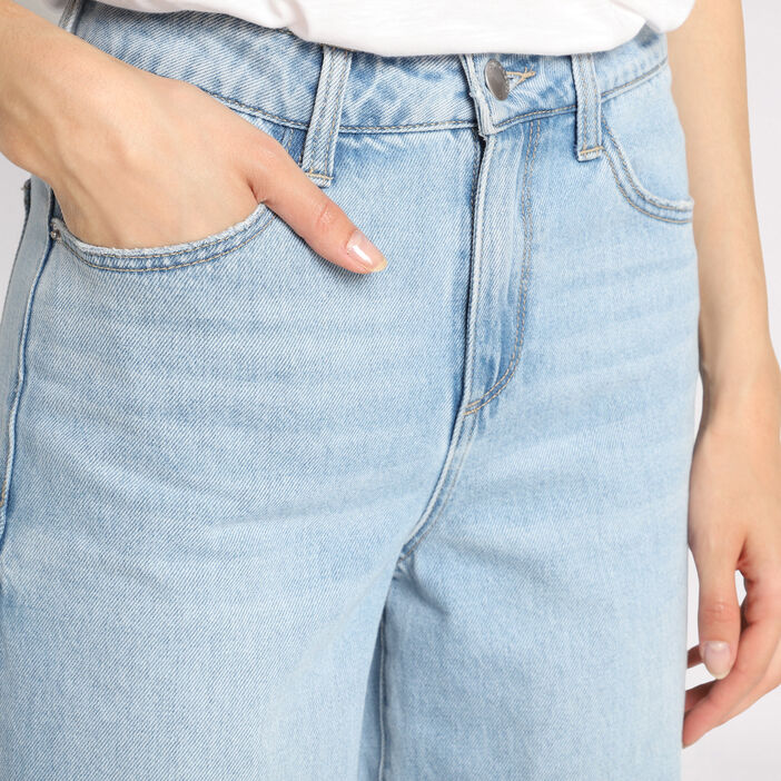 Jeans large denim double stone femme