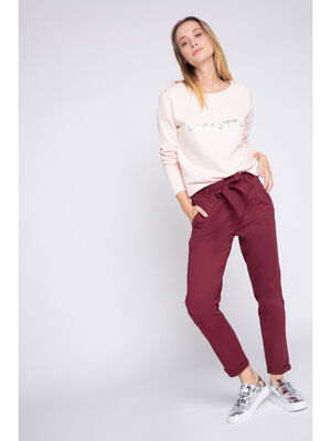 Pantalon chino paper bag metallise prune femme