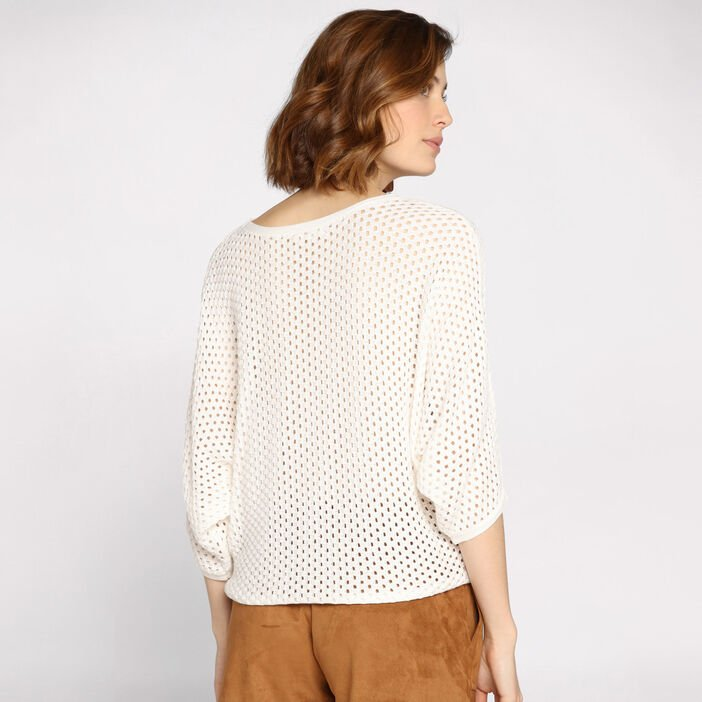 Pull manches 3/4 maille ajourée ecru femme