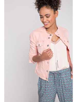 Veste jean coloree sans col orange corail femme