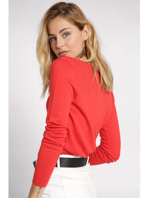 Pull manches longues en maille ajouree rouge femme