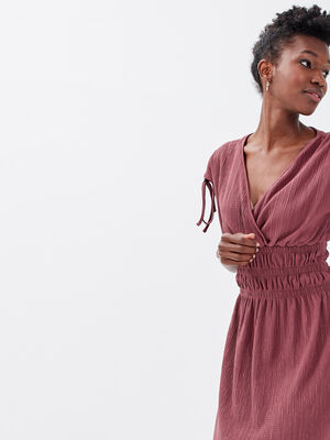 Robe droite taille elastiquee vieux rose femme