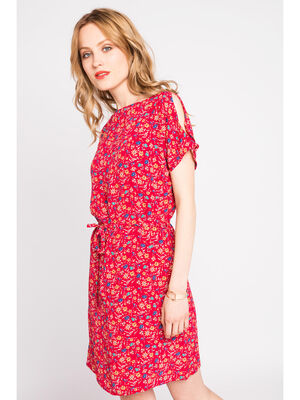 Robe droite manches courtes rouge femme