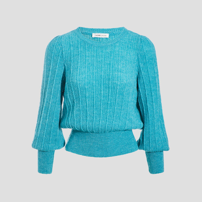 Pull manches longues bleu turquoise femme