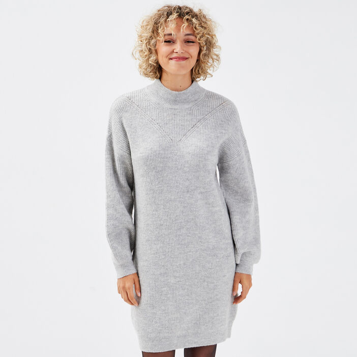 Robe pull droite col montant gris clair femme