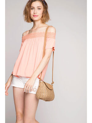 Debardeur off shoulders macrame orange corail femme