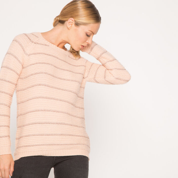 Pull shaggy à rayures rose clair femme