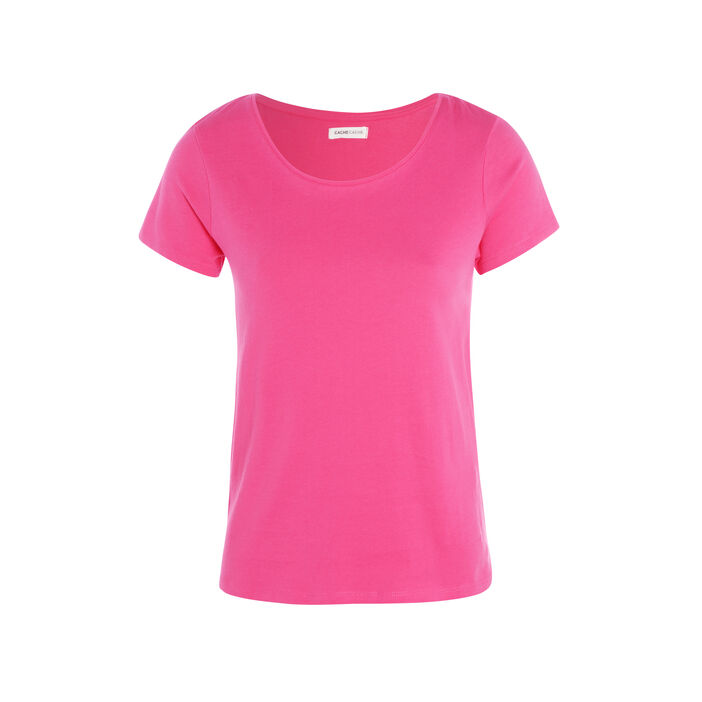 T-shirt manches courtes col rond rose fushia femme