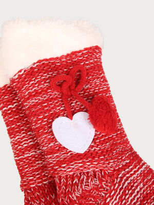 Chaussettes theme Noel a noeud rouge fonce femme