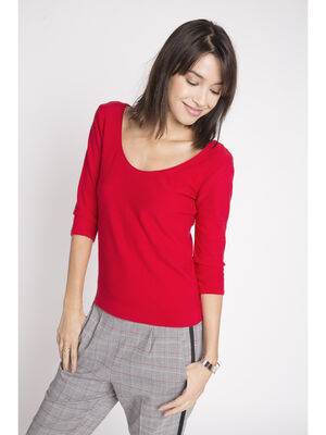 Pull manches 34 uni col rond rouge femme