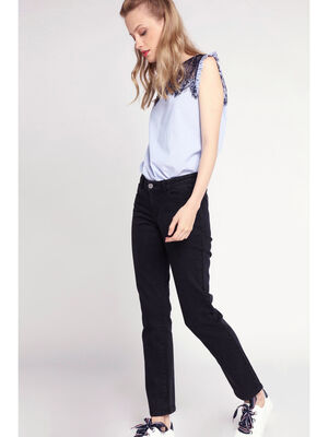 Jeans regular straight denim noir femme