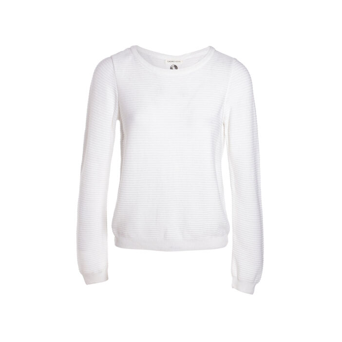 Pull manches longues maille fantaisie ecru femme