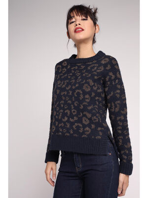 Pull manches longues motif animalier bleu marine femme