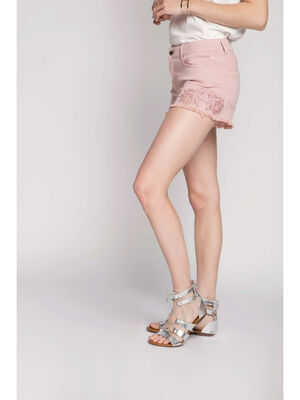 Short broderies franges rose clair femme